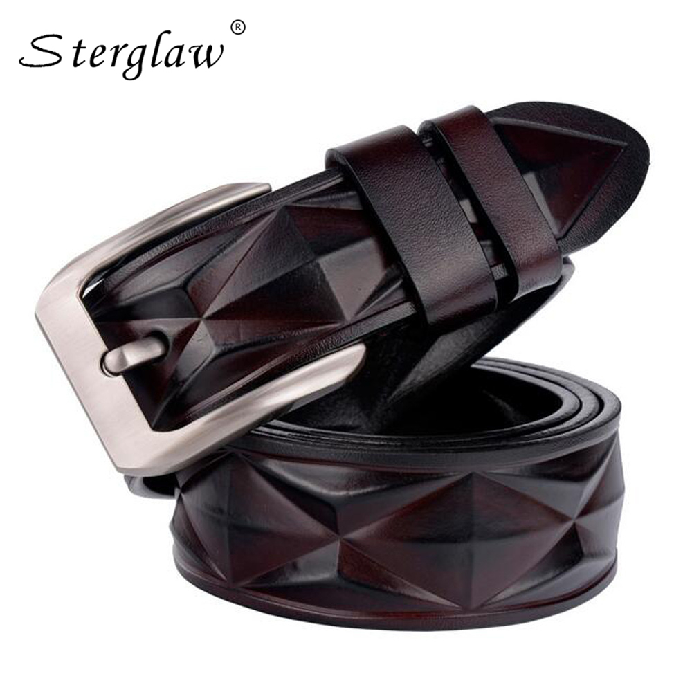 3.8cm Designer   belts   man Dimensional geometric modeling   belt   for men's jeans casual Strap male genuine leather trouser   belt   C221