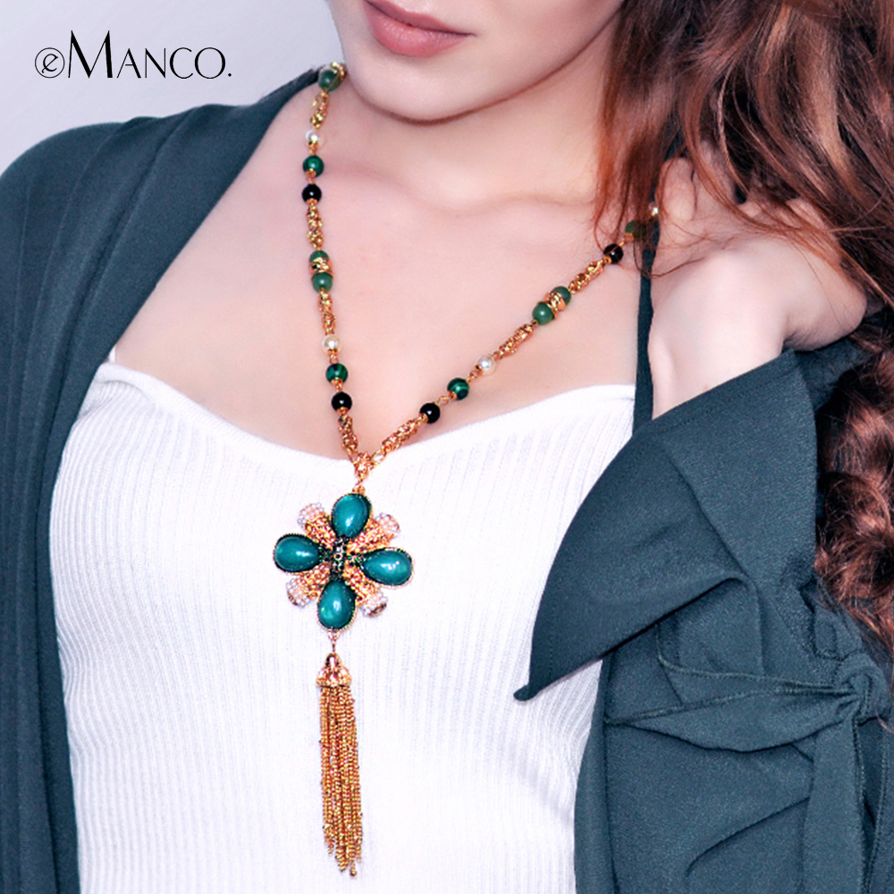 eManco Womens Long Luxury Zinc Alloy Tassel  Pendent & Necklace  with Imitation Pearl &Acrylic Vintage  green  Chain necklace eManco Womens Long Luxury Zinc Alloy Tassel  Pendent & Necklace  with Imitation Pearl &Acrylic Vintage  green  Chain necklace