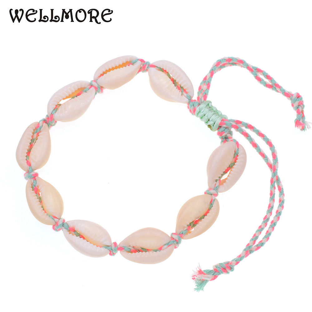 WELLMORE women Anklet 8 colors bohemia Anklets for women beach shell Anklet bracelets summer Party Foot Jewelry wholesale