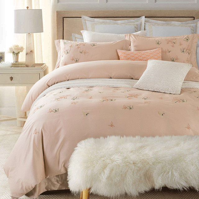 Egyptian Cotton Butterfly Flowers Embroidered White color Bedding ...