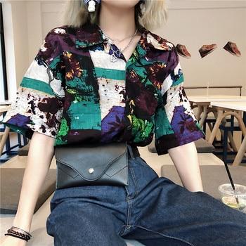 Holiday Beach [leisure Loose] Shirt Printed Shirt Korean Retro Oil Painting V-neck T-shirt Summer Shirt Women's New Spring Shirt фото