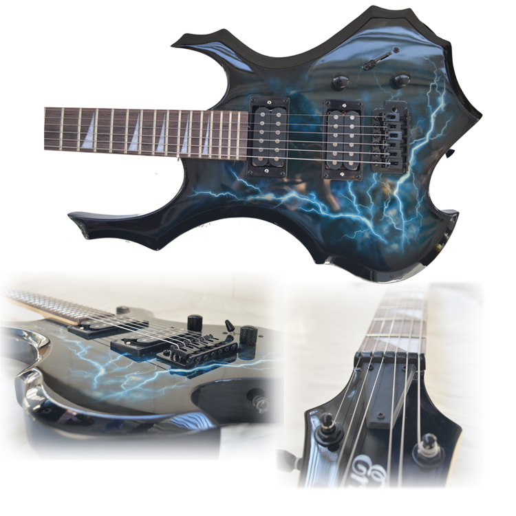 En forme de Sycomore Bois Électrique Guitare Acoustique Guitare avec Amp Comprend Tous Les Accessoires 24 Tone Position Débutant Starter Kit