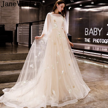 850deeaf5eb JaneVini Puffy Champagne Bridesmaid Dresses Long With Sleeves Lace Sweep  Train Tulle Ladies Formal Women Wedding · 2 Colors Available