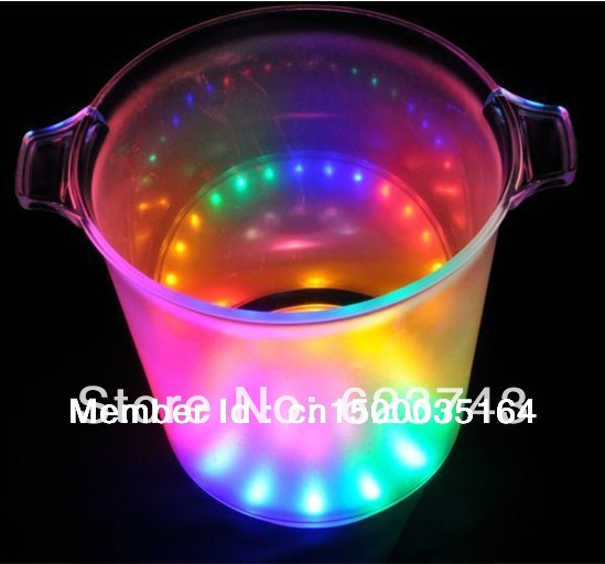 Fashion Design Plastic Champagne Led Ice Bucket For Barware / Decoration,color Changing And Unique Led Furniture Wholesale
