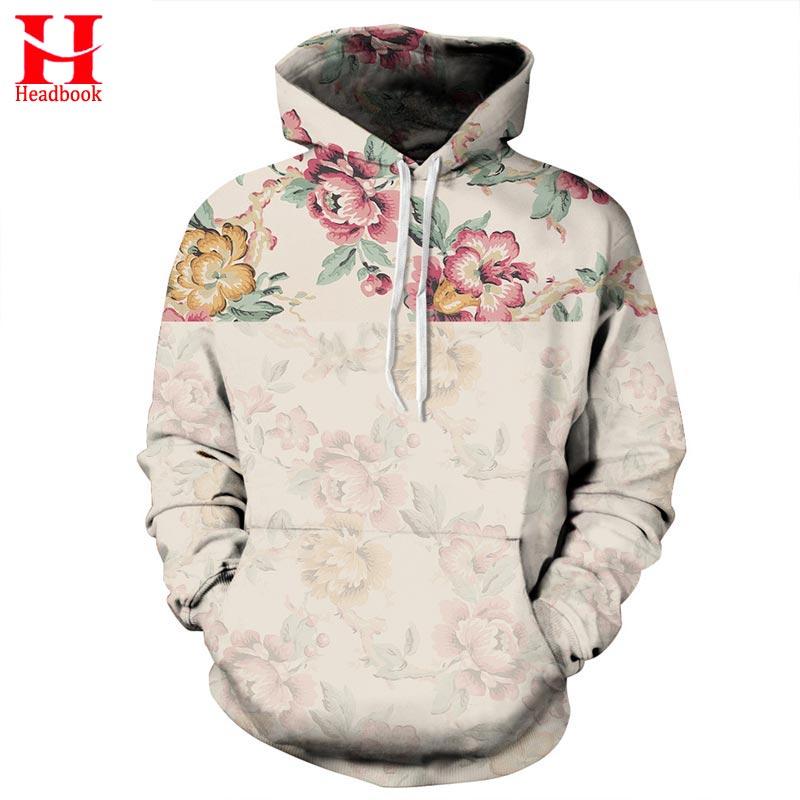 2017 Headbook Flowers Hoodies Men/Women 3d Sweatshirts Digital Print Rosa Roses Floral Hooded Hoodies Brand Hoody Tops