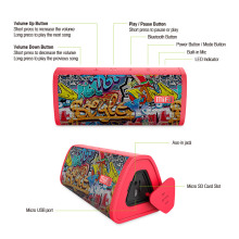 Portable Graffiti Printed Bluetooth Speaker with Built-in Mic