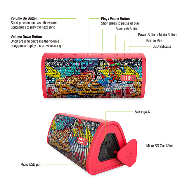 MIFA Red-Graffiti Bluetooth Speaker  Built-in Microphone Stereo Rock Sound Outdoor 10W Portable Wireless Speaker Support TF card