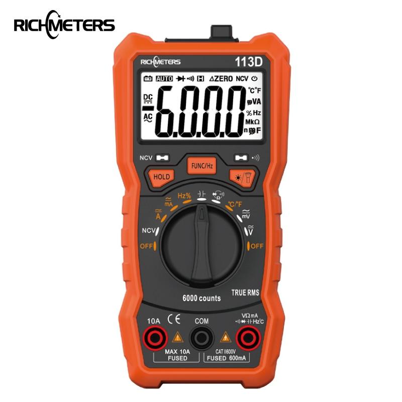 RICHMETERS RM113D NCV Digital Multimeter 6000 zählt Auto Ranging AC/DC spannung meter-licht Zurück licht Großen Bildschirm