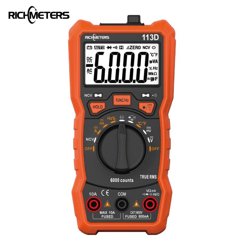 RICHMETERS RM113D NCV multímetro Digital, 6000 cuentas rango automático AC/DC medidor de tensión de Flash luz Luz de pantalla grande