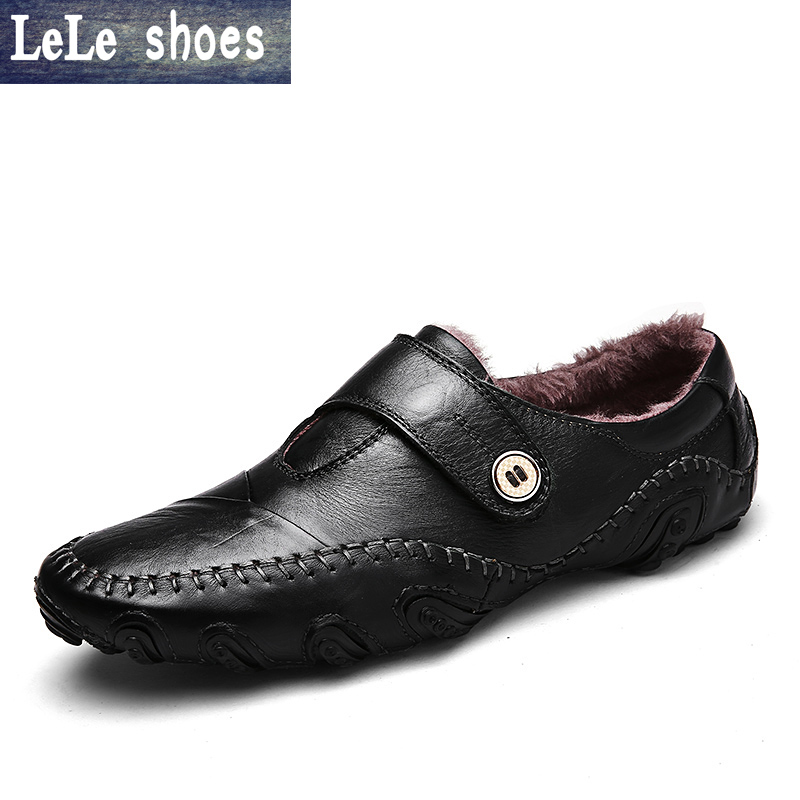 2016 Winter Men Causal Flats High Quality Genuine Leather Slip On Plush Fur Warm Big Size Moccasins Loafers Shoes Zapatos Hombre 2017 big size 38 46 genuine cow leather shoes men slip on mens shoes casual flats men loafers moccasins warm plush winter shoes
