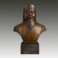 Ancient China's Bronze Sculptures Genghis khan bust Statue hero Chinese god of war Chinese antique collection
