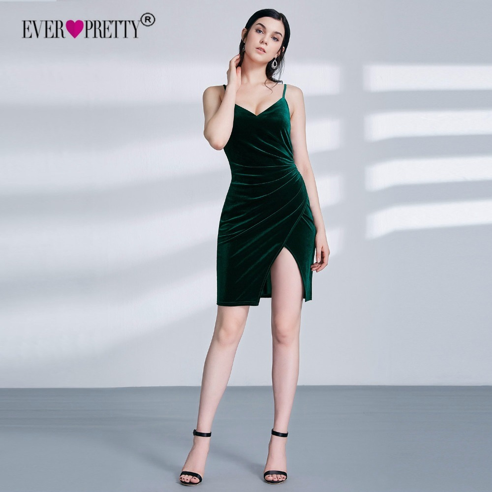 Green   Cocktail     Dress   2018 Ever Pretty Autumn Winter Velvet V-neck Backless Sexy Sleeveless Mermaid Cheap Off Shoulder Gowns