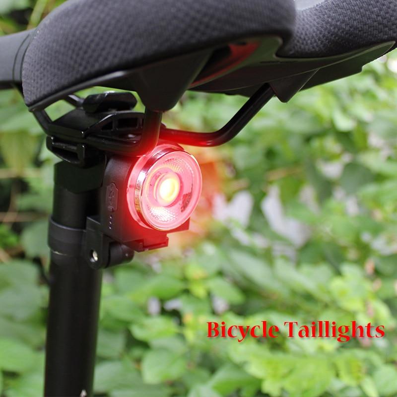 USB LED Bicycle Tail Light Smart Brake Induction Road Bike Rear Light Lamp