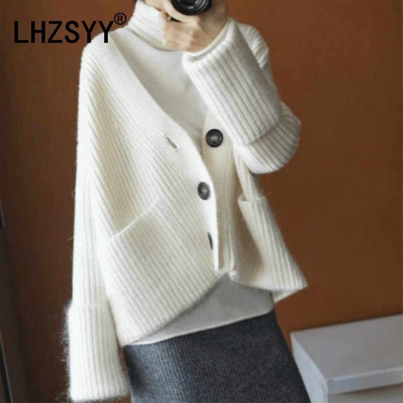 LHZSYY Autumn Winter New Women's Cashmere sweater Cardigan V-neck Loose Large size Jacket High quality Solid color knit Sweaters ny collection new blue women s size large l wide knit v neck sweater $60 083