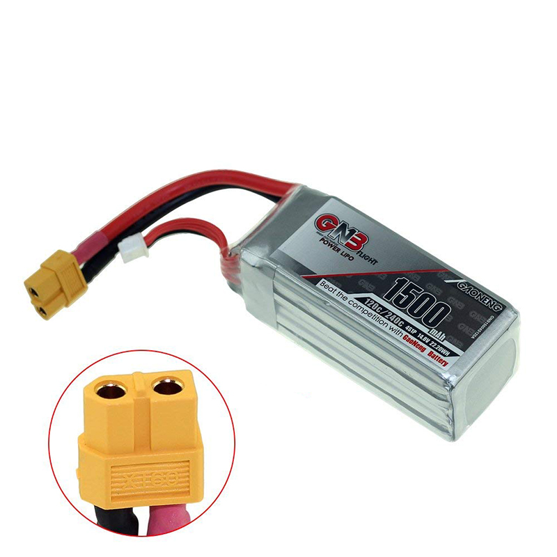 Gaoneng GNB 4S 14.8V 1500mAh 120/240C Rechargeable Lipo Battery with XT60 Plug Connector Battery Strap For FPV Racing Drone