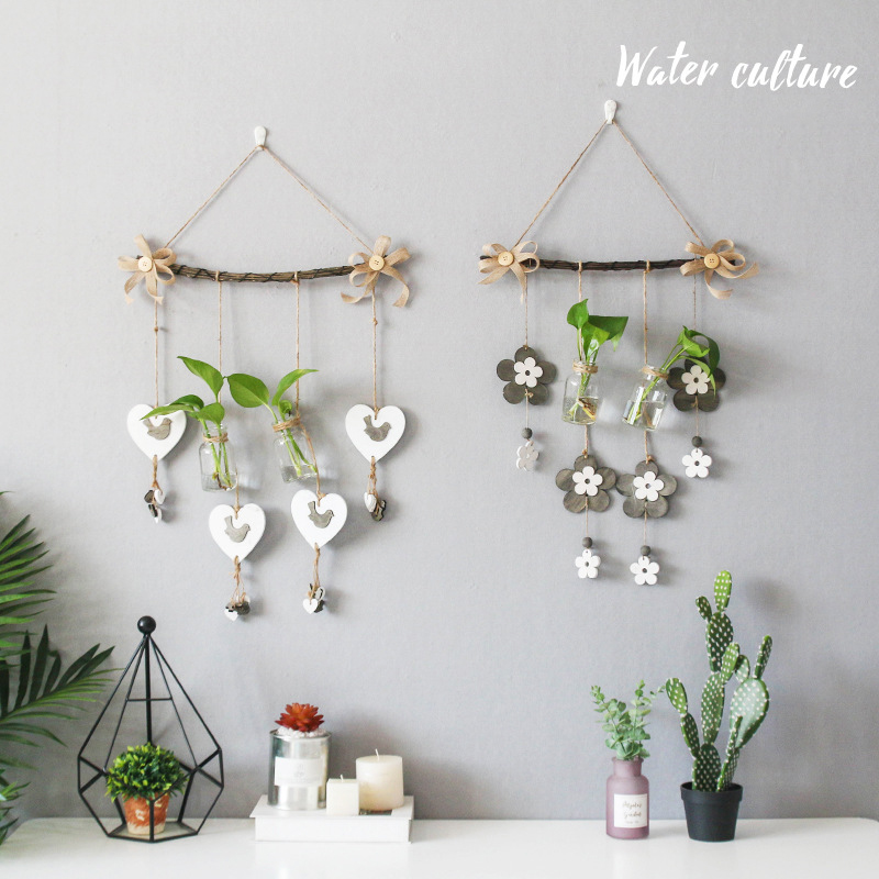 Household Wall Hanging Hydroponic Vase Transparent Glass Bottle Decor Retro Wooden Green Plant Container Craft Balcony Ornaments
