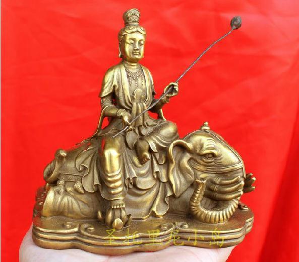 Chinese bronze Samantabhadra/Vishvabhadra Bodhisattva Buddha Figure 5H Retro bronze factory outlets