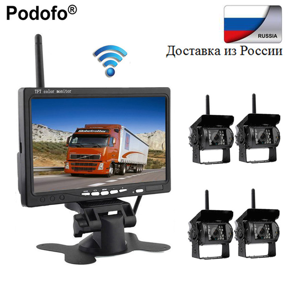 Podofo Wireless 4 Backup Cameras Parking Assistance IR Night Vision Waterproof with 7 Rearview Monitor for RV Truck Trailer Bus podofo wireless truck vehicle car rear view backup camera 7 hd monitor ir night vision parking assistance waterproof for rv rc