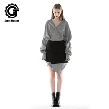 2019 Irregular V-neck Fashion Set Dress Female Long Sleeve Black Half-length Skirt Two-piece Spring and Autumn Punk Square Set knee length square neck two tone dress
