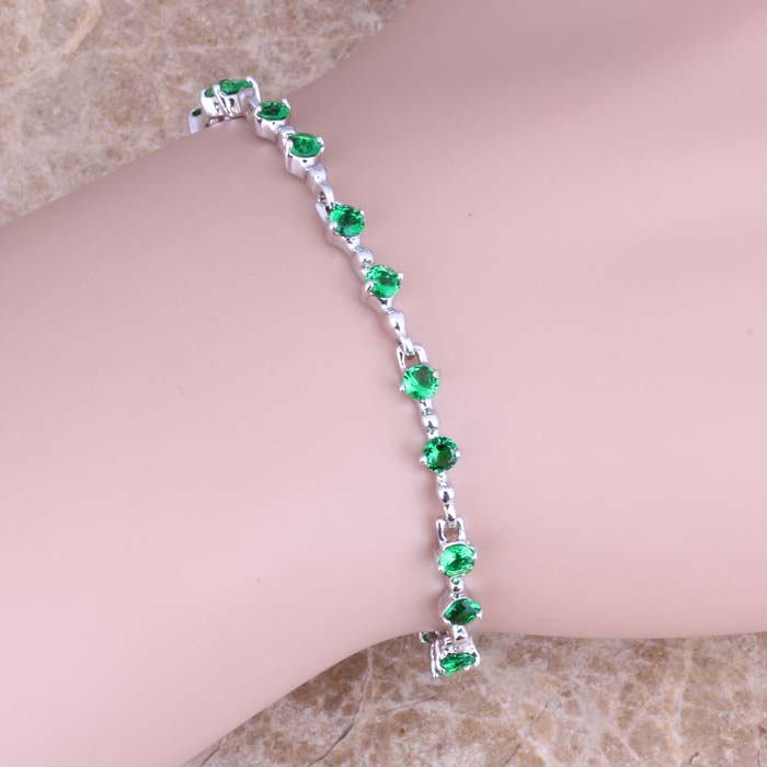 Superb Green Cubic Zirconia 925 Sterling Silver Link Chain Bracelet 6.5 - 7.5 inch S0508