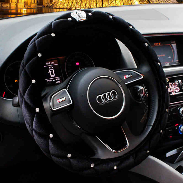 Heated Front Seats And Steering Wheel: Winter Steering Wheel Cover Diamond Crystal Crown Auto