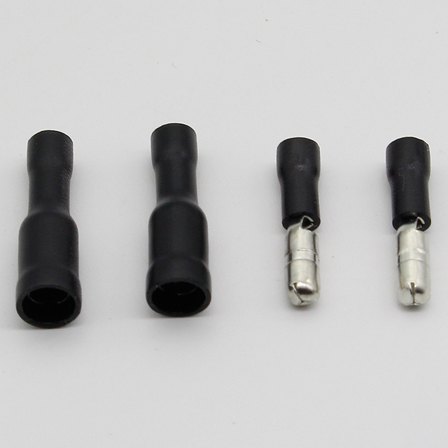 Hot 50 X Black Male Female Bullet Connector Crimp Terminals Wiring