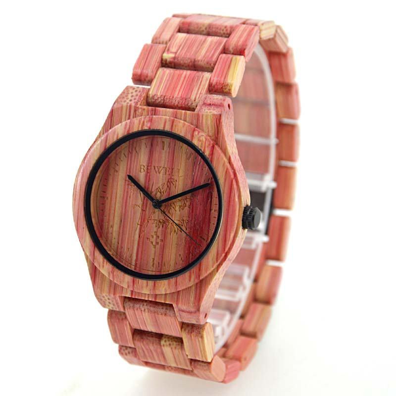 BEWELL Women Watches Wooden Quartz Bamboo Analog Handmade 105DG Colorful Natural Top-Brand