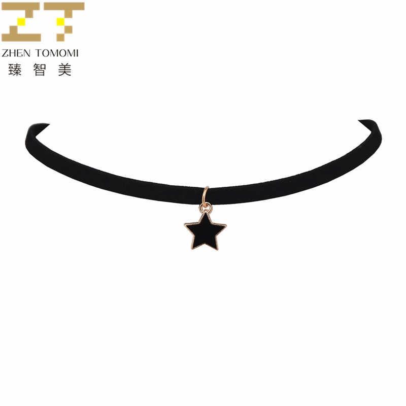 2019 novas chegadas moda colares collier couro de veludo preto cinco pontas estrela pingentes gargantilhas colares para jóias femininas