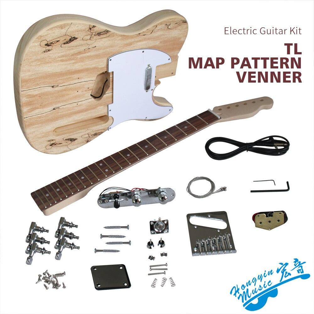 Bricolage TL Style guitare électrique Kit ondulation de l'eau placage tilleul corps érable dur cou palissandre touche guitare matériaux ensemble