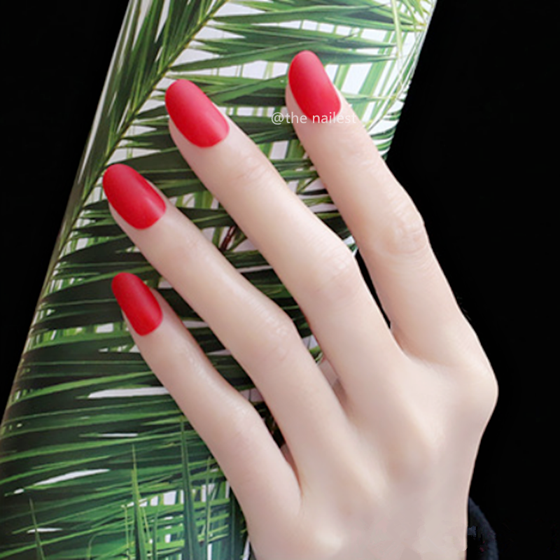 24pcs Frosted Red Fake Nails Matte Luxury Impress Girls Press On Nails False Oval Artificial Short Tips Nail False Fingernails in False Nails from Beauty Health