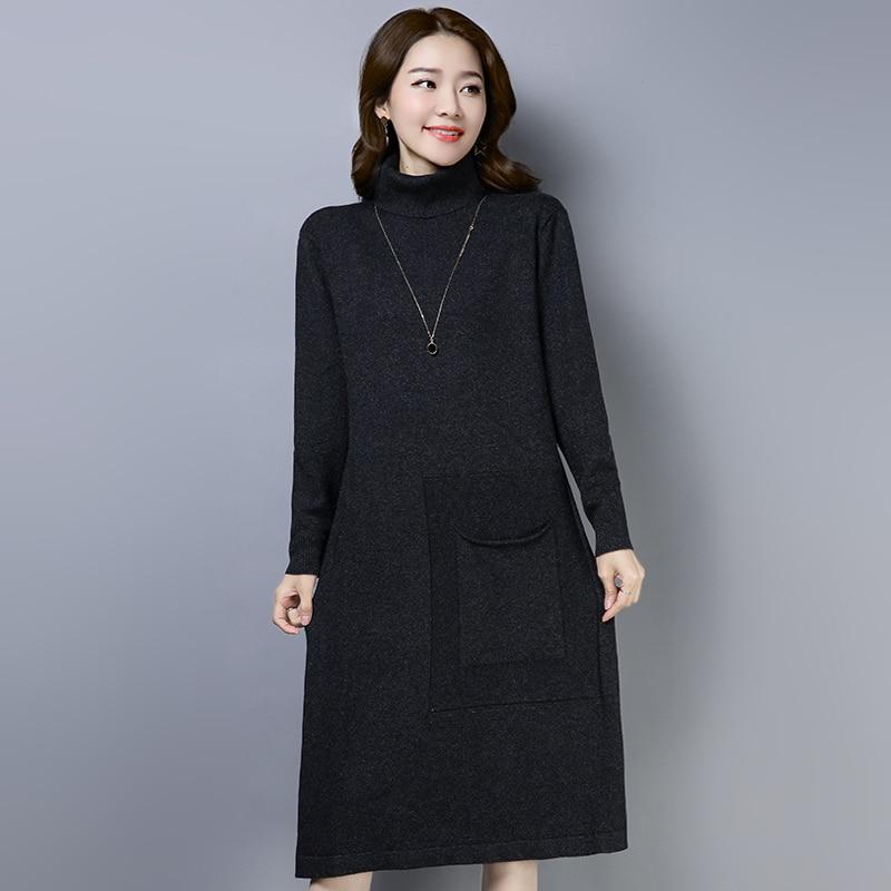 13857da2d64 Robe gris 3 Roulé Longue ligne Automne Col Couleurs Solide Hiver Lâche  Nouveau Noir A Marque Femmes marron ...
