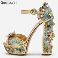 Sandalias de mujer de seda azul plataforma médica grueso cuadrado de tacón alto tachonado de diamantes de imitación Sandalias de mujer de cristal de decoración de Punta abierta