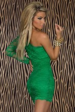 7 Colors Sexy Nightclub Dresses Summer Sexy Women's Party Evening Lace One Shoulder Mini Dress Plus Size Vestido