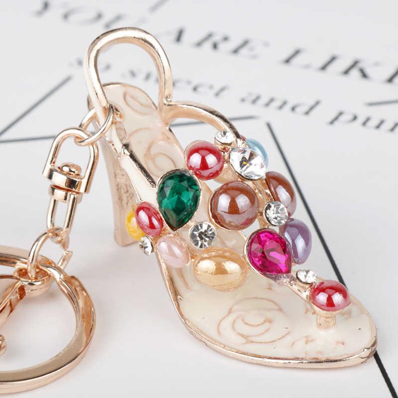 Dongsheng. Joyería de moda Bohemia llavero de verano hermoso zapato de tacón alto llavero de cuentas de diamantes de imitación Keyrings-50