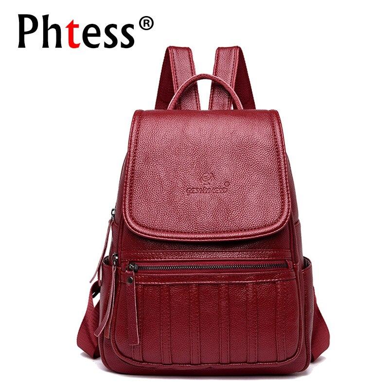 2018 Designer High Quality Women Leather Backpack School Bags For Girls Vintage Bagpack Ladies Mochilas Escolar Back Pack Girl цена 2017