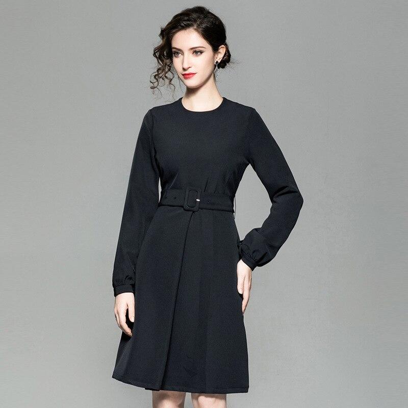 4f6117f80896 Autunno Il Femminile Con Cinghia Formale Da Lavoro Donne Pieno Vestito Nero  Elegante Dell annata 2018 La Vestiti B081001 Abiti Casual Ufficio xPHCqwX