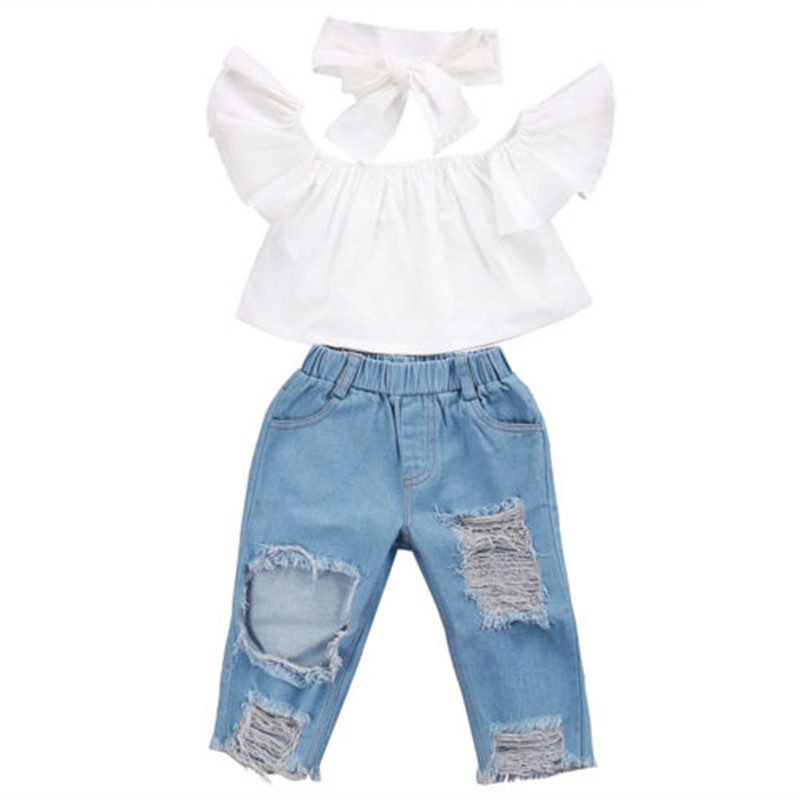 HOT Kids Baby Girls Clothes Kids Summer Outfits Off Shoulder Solid White Short Sleeve T-shirt Tops Holes Pants Cotton 2Pcs Set