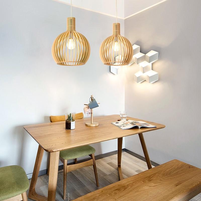 Modern Black Wood Birdcage E27 bulb Pendant light norbic home deco bamboo weaving wooden Pendant lamp - 4