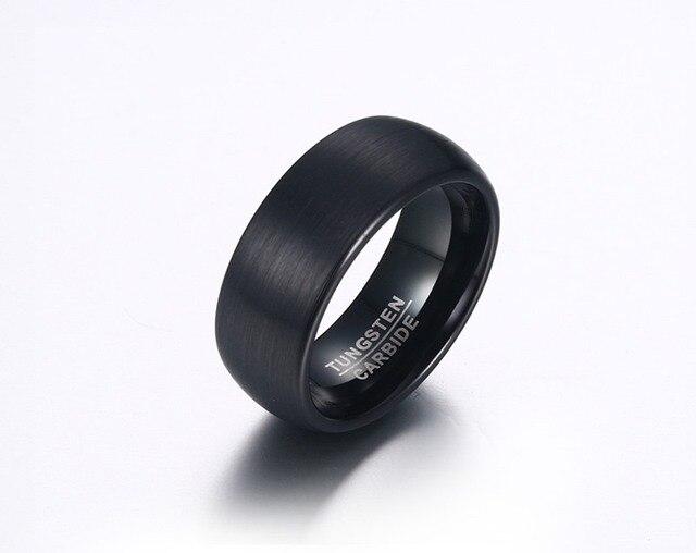 Кольцо мужское черное Карбидное вольфрамовое 8 мм