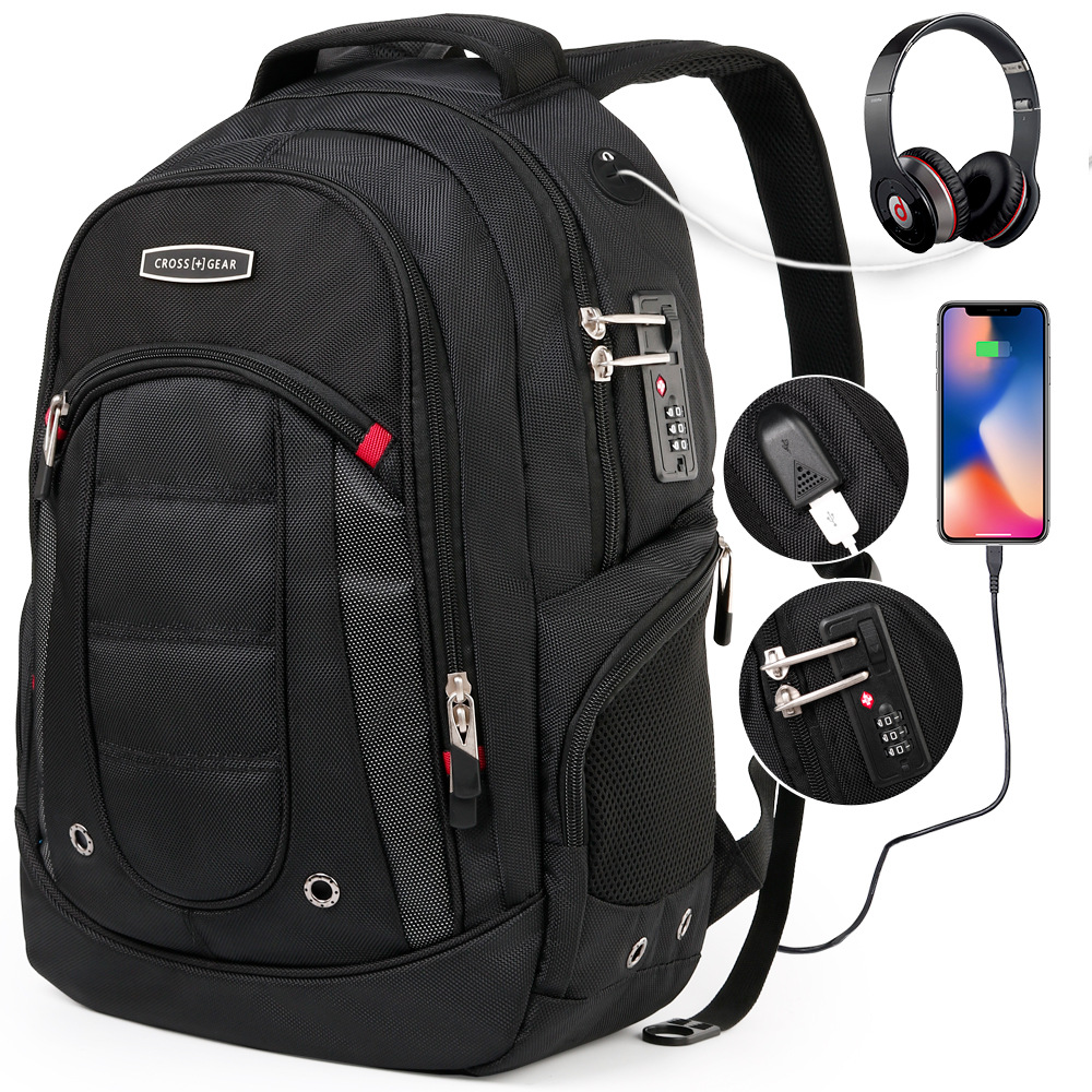 Suisse 17 pouces anti-vol qualité usb classique hommes pochette d'ordinateur de haute qualité noir affaires marque gear ordinateur sac à dos