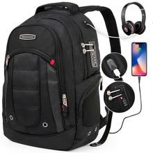 swiss 17 inch anti theft quality usb Classic Men's Laptop bag High Quality Black