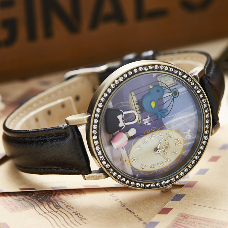 3D Clay Cute Vintage Retro Cooper Bule Bird Rhinestone Watches Relogio Feminino Ladies Women Leather Wristwatches