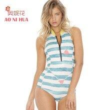 AONIHUA 2018 New Wide Stripe Sport One Piece Swimsuit Women Push up front zipper Swimwear sleeveless Swimming Suit 2054