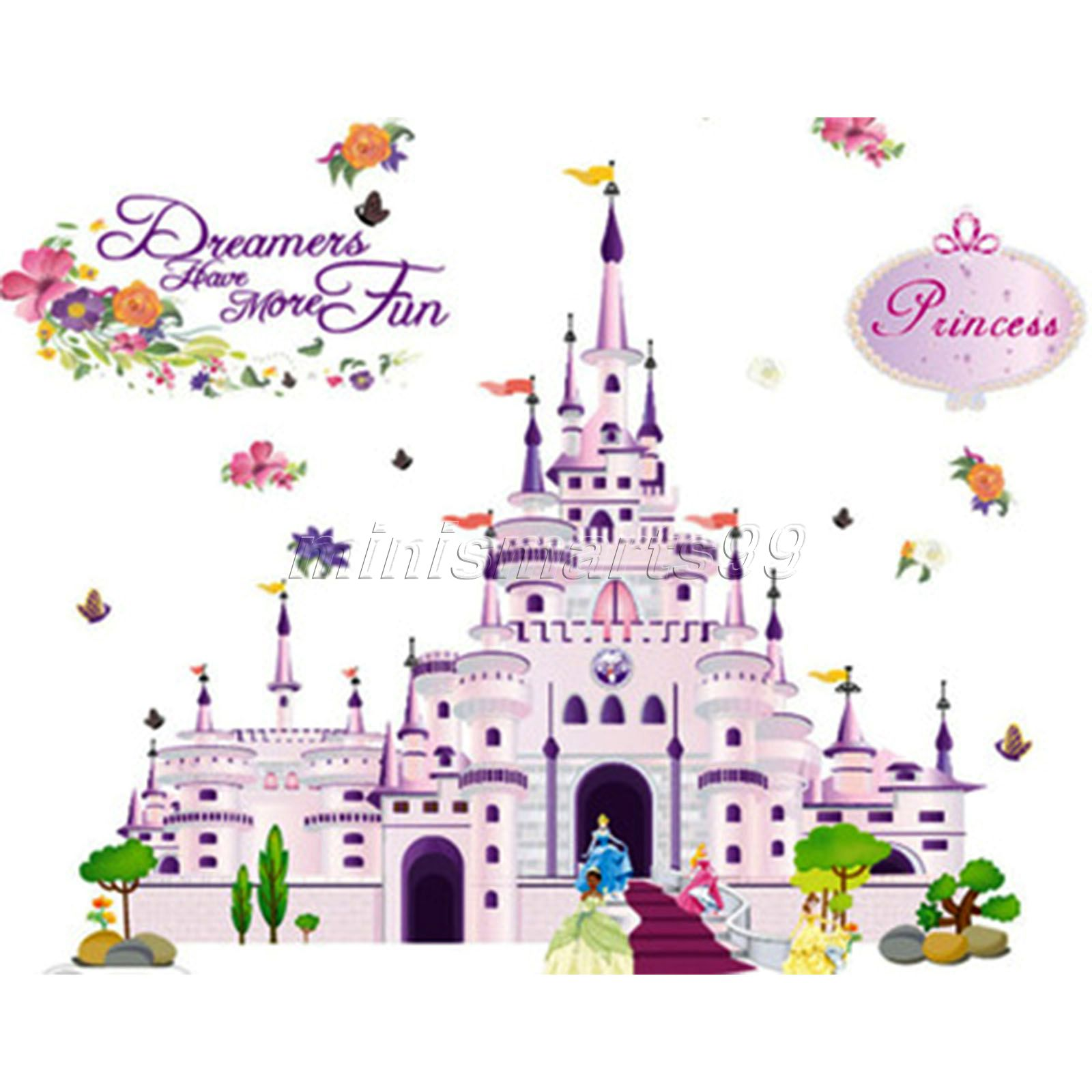 Waterproof Princess Castle Girl Sticker Door Glass Stickers Wall Decal Home Decoration Vinyl Art Pvc Posters for Kids Room