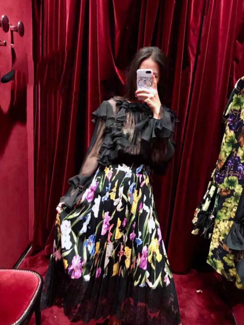 Temperamento Impresión Alta See Falda Costura De Encaje Media Longitud Cintura Chart Nueva Mujer Idfqf