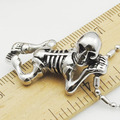 Halloween Gift, Free shipping, 316l stainless steel skull skeleton pendant necklace, gothic style, men's accessories,VP124