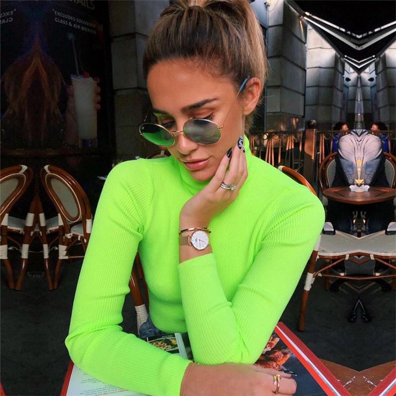 Fluorescent Green Turtuleneck Knitted Sweater Women 2019 Spring Winter Casual Long Sleeve Ribbed Sweater Streetwear Pullovers