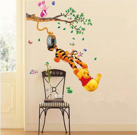 Pooh Tigger Animal Cartoon Vinyl Wall stickers kids rooms Home decor DIY Child Wallpaper Art Decals 3D Design House Decoration