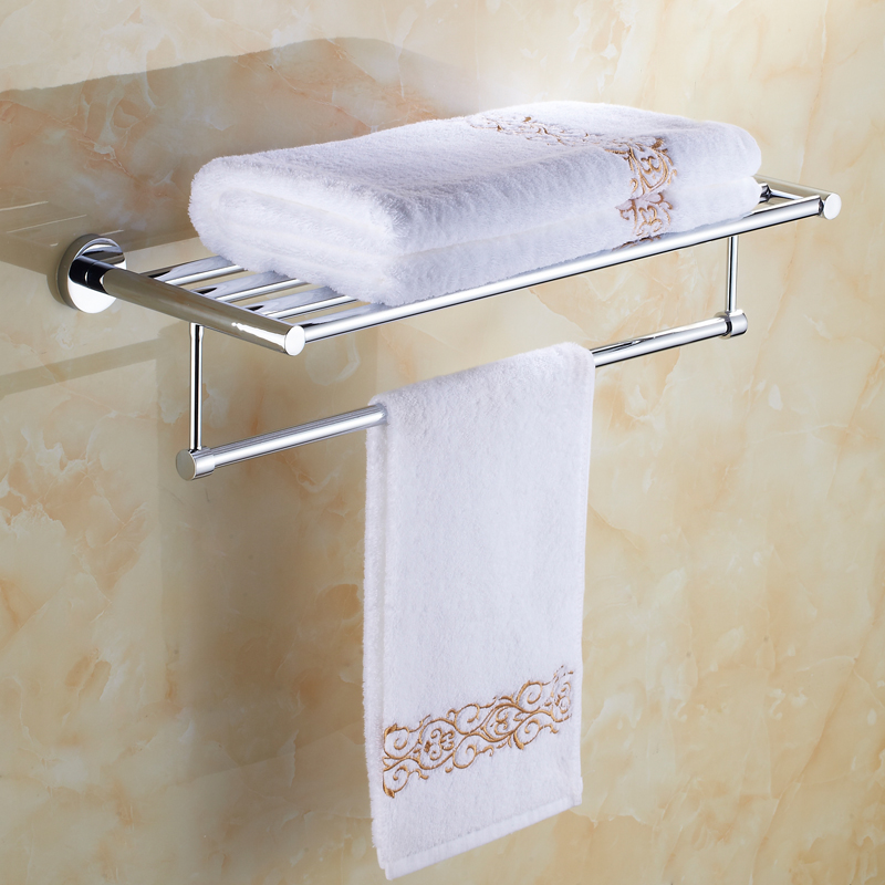 Silver SUS 304 Stainless Steel Bath Towel Rack Bathroom Towel Holder Double Towel Shelf 2 Layers 60CM Bathroom Accessories Sj18 aluminum wall mounted square antique brass bath towel rack active bathroom towel holder double towel shelf bathroom accessories