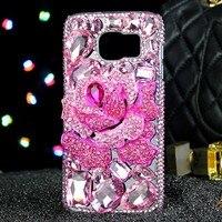 2017 De Luxe Fille Femme Lady Style À La Main 3D Diamant Strass Fleur Couverture de Téléphone cas Pour iPhone 4 4G 4S 5 5G 5S 6 6 S 7 Plus